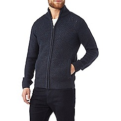 Burton - Navy knitted zip through jumper
