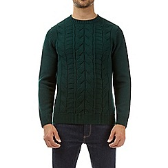 Burton - Green cable knit crew neck jumper