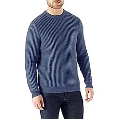 Burton - Blue textured stitch lambswool jumper