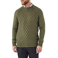 Burton - Khaki diamond stitch jumper