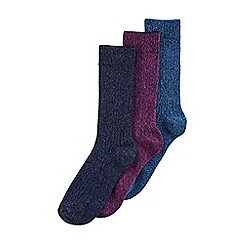 Burton - 3 pack chunky blue & purple twist socks
