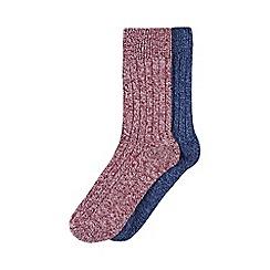 Burton - 2 pack burgundy and navy boot socks