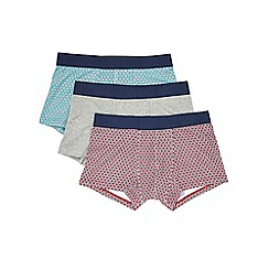 Burton - 3 pack red grey & green geo print boxers
