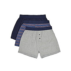 Burton - 3 pack navy & grey striped boxers