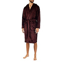 Burton - Super soft fleece burgundy dressing gown