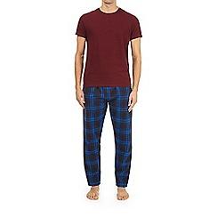 Burton - Burgundy and teal checked pyjama set