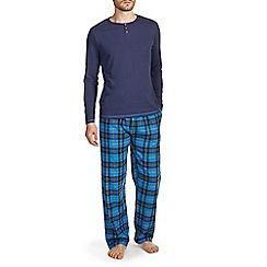 Burton - Blue & navy check long sleeve pyjama set