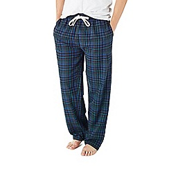 Burton - Navy & green check brushed lounge pants