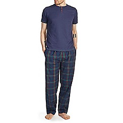 Burton - Short sleeve navy & green check pyjama set