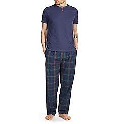 Burton - Short sleeve navy & green check pyjama set