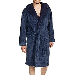 Burton - Luxurious navy fleece dressing gown