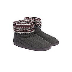 Burton - Grey fairisle knitted slippers