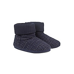 Burton - Navy basket stitch knitted slippers
