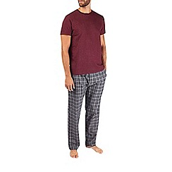 Burton - Pure cotton short sleeve burgundy top grey checked pyjama set