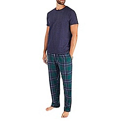 Burton - Pure cotton short sleeve green checked pyjama set