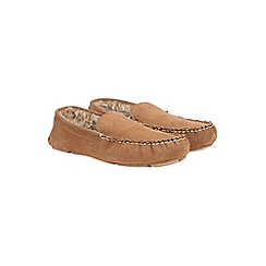 Burton - Tan suede mocassin slippers