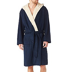 Burton - Luxurious navy & white fleece dressing gown