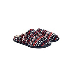 Burton - Navy fairisle patterned mule