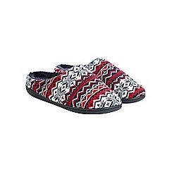 Burton - Red fair isle mule slippers