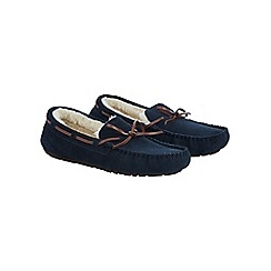 Burton - Lace suede navy moccasin slippers