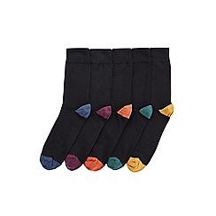 Burton - 5 pack black socks with coloured heels