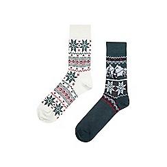 Burton - 2 pack fair isle scene socks