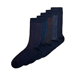 Burton - 5 pack navy ribbed socks