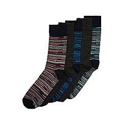 Burton - 5 pack navy & charcoal stripe socks