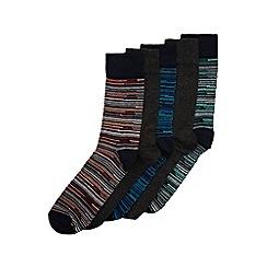 Burton - 5 pack navy & charcoal stripe socks