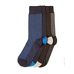 Burton - 4 pack black grey and blue birdseye design socks