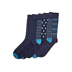 Burton - 5 pack navy mixed pattern socks