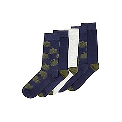 Burton - 5 pack navy and khaki palm tree leaf socks