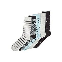Burton - 5 pack black, grey & mint socks