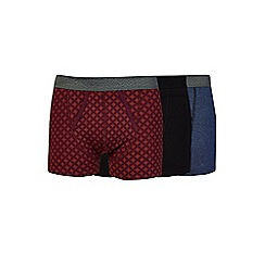 Burton - 3 pack navy, purple and ginger patterned trunks