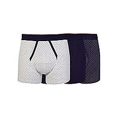 Burton - 3 pack navy and grey diamond pattern trunks