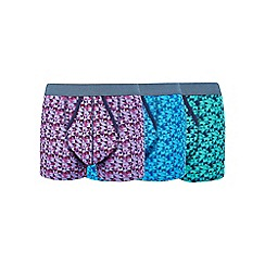 Burton - 3 pack blue, purple and green geometric print trunks