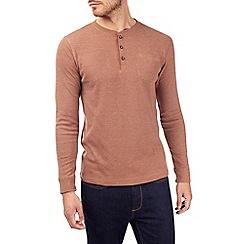 Burton - Rust textured grandad t-shirt
