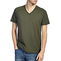 Burton - Khaki green v - neck t-shirt
