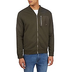 Burton - Khaki jersey bomber jacket with contrast pocket