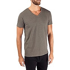 Burton - Dark khaki v-neck t-shirt
