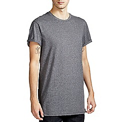 Burton - Charcoal grey textured longline t-shirt