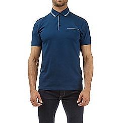Burton - Petrol blue double collar polo shirt