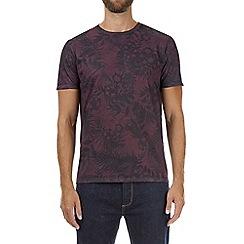 Burton - Burgundy all-over floral print t-shirt