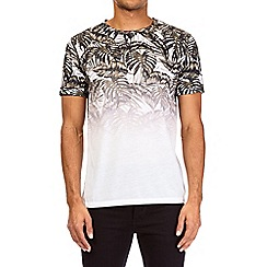 Burton - White and khaki palm print fade t-shirt