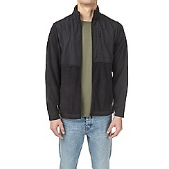 Burton - Black funnel neck nylon panel fleece jacket