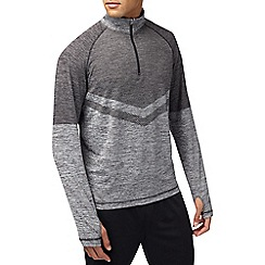 Burton - Sports grey chevron zip neck top