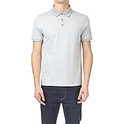 Burton - Light grey jacquard collar polo shirt
