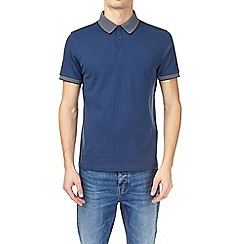 Burton - Dark denim jacquard collar polo shirt