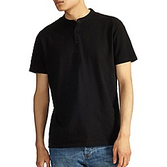 Burton - Black grandad collar t-shirt