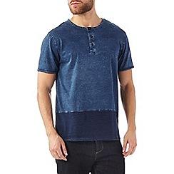 Burton - Indigo grandad neck t-shirt